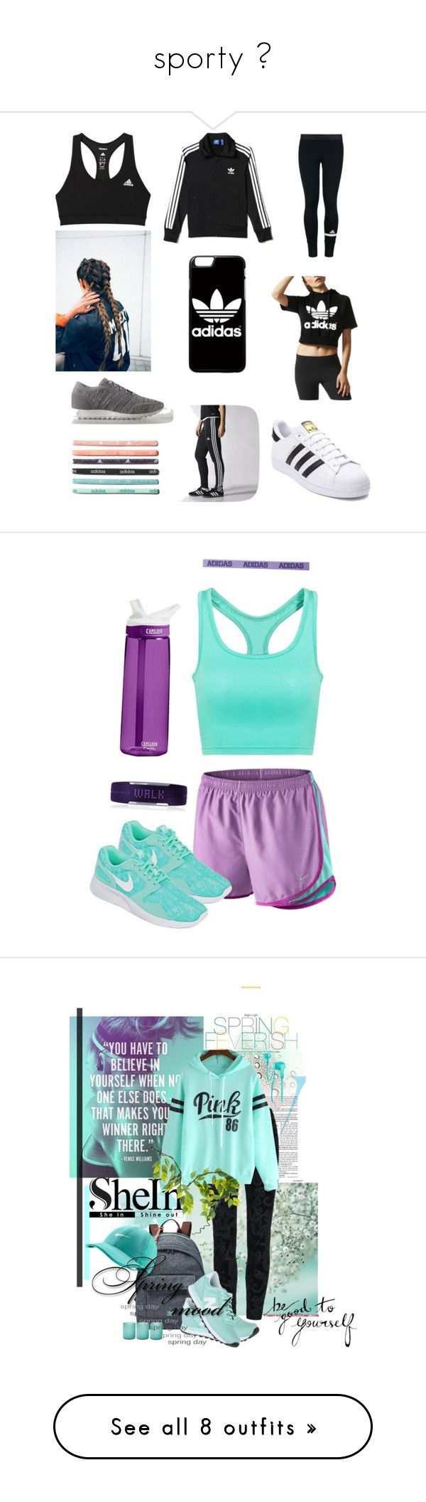 """sporty "" by roney121 ❤ liked on Polyvore featuring adidas, NIKE, Polar, nike, Sports, running, activewear, Victoria Beckham, FEVERISH and FOSSIL"