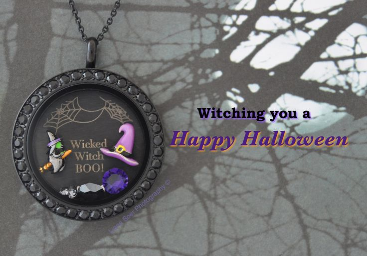 Origami Owl - #Halloween #witch locket. Add other Halloween charms to this locket at katwallace.origamiowl.com