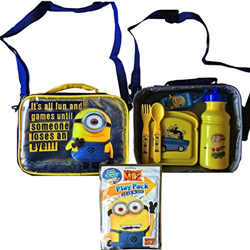 Despicable Me Minions Lunch Box Gift Set Includes Sandwich Container Pull-top Water Bottle Utensil @ niftywarehouse.com #NiftyWarehouse #DespicableMe #Movie #Minions #Movies #Minion #Animated #Kids