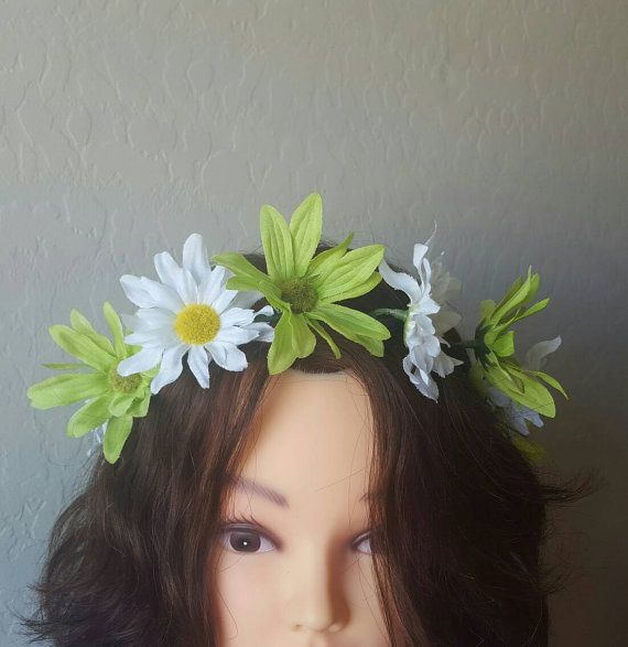 Green and White Daisy Floral Crown, Flower Crown, Neon Floral Halo Headpiece, Flower Headband, Boho Chic, Festival Fashion https://www.etsy.com/listing/456220270/green-and-white-daisy-floral-crown