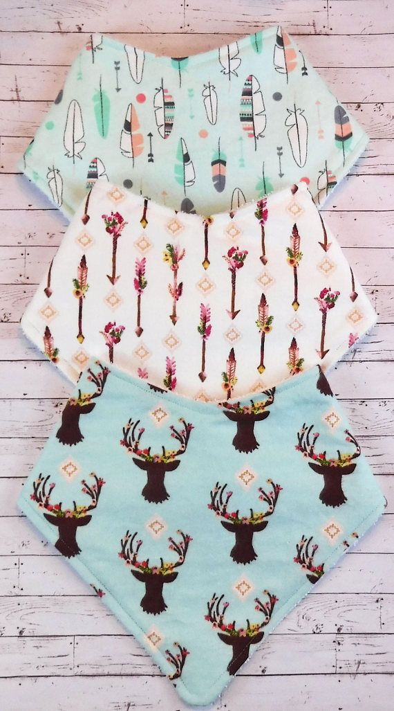 Gorgeous Flowers & Feathers Boho Bandana Bib Bundle Deer Arrows. Perfect baby shower gift or a treat for your own free spirited baby girl.