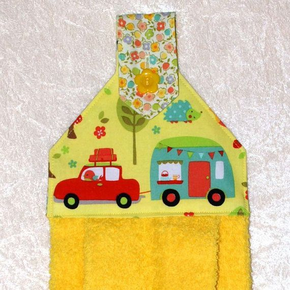 Hanging hand towel with retro RV camper. I need one for the kitchen and the bathroom.