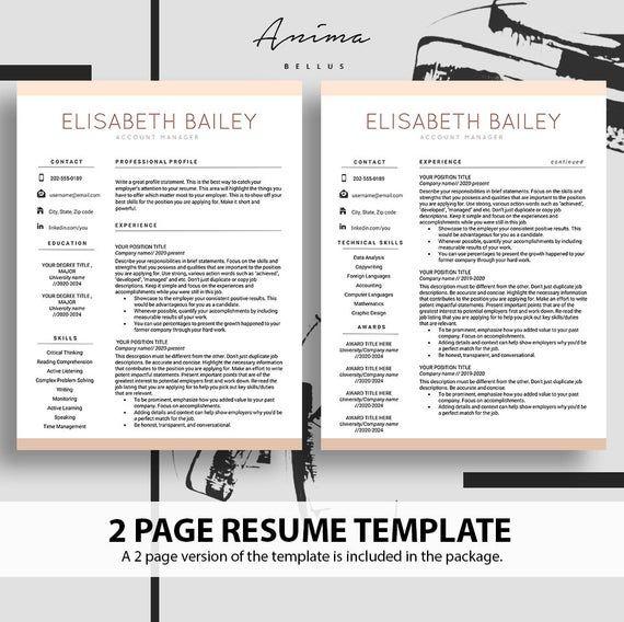 Resume Cv Maker Resume Template Resume Design Cv Template Etsy Resume Template Resume Cv Resume Design