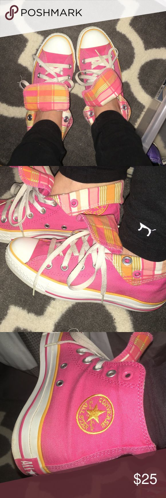 Hot Pink High Top Converse Gently worn, colors aren't as bright as they used to be. Can be worn regular or folded down to show plaid lining. These are super cute!! Converse Shoes Sneakers