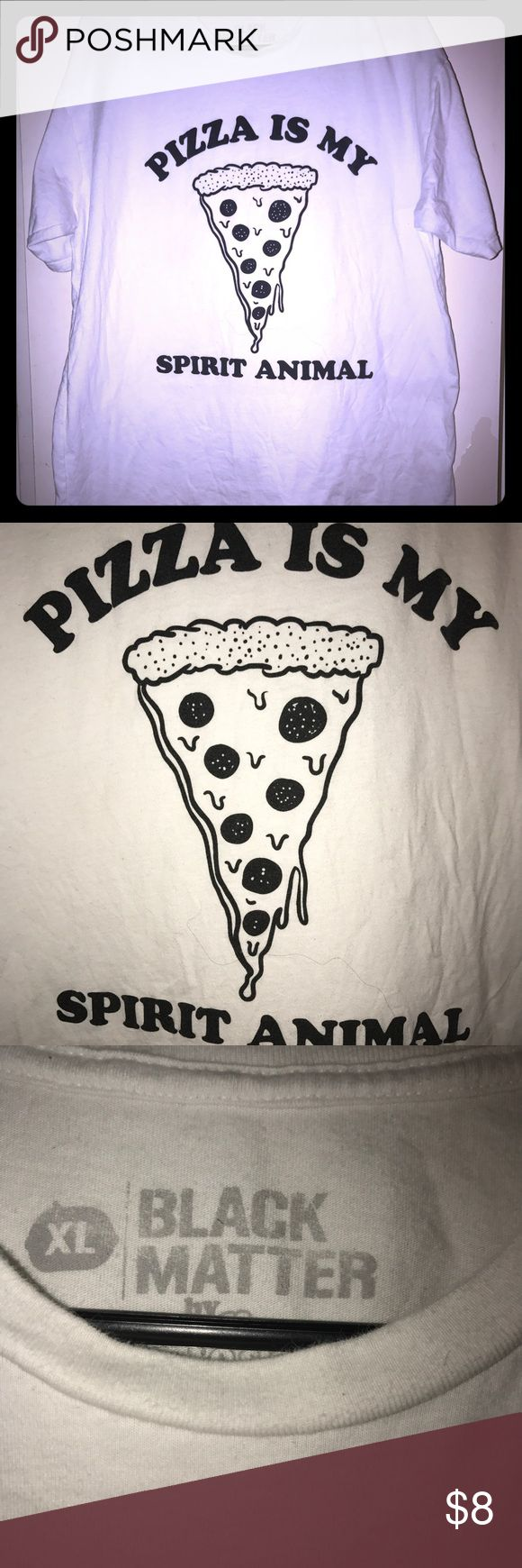 Pizza is my spirit animal men's Tshirt Black matter men's XL Tshirt. Pizza is my spirit animal. No cracking at all on lettering. See pics. Hot Topic Shirts Tees - Short Sleeve