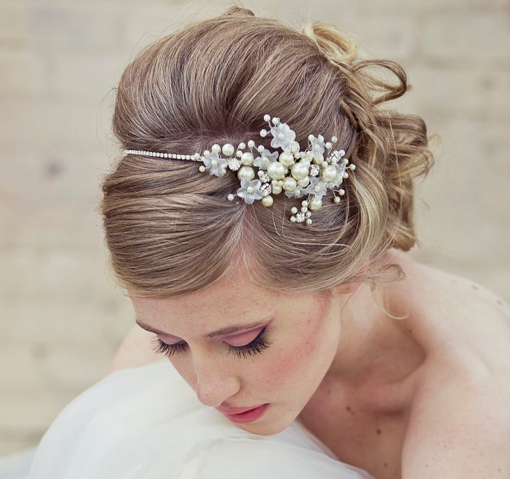 Wedding Hair, Rhinestone tiara with flowers and ivory pearls, wedding tiara. $175.00, via Etsy.
