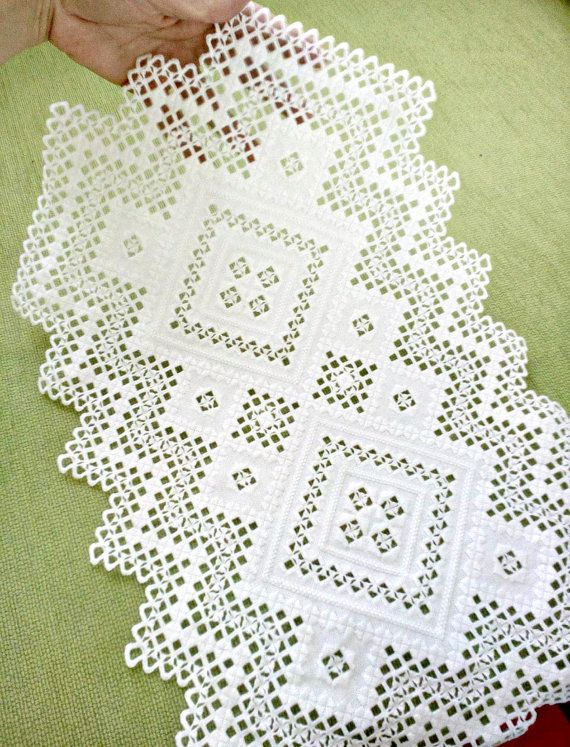 Hardanger embroidery doily handmade white cotton home by VicLinArt