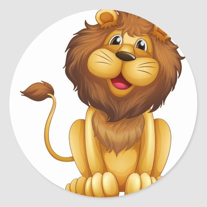 A Happy Lion In A Sitting Position Classic Round Sticker Zazzle Com Cartoon Lion Lion Clipart Cartoon Illustration