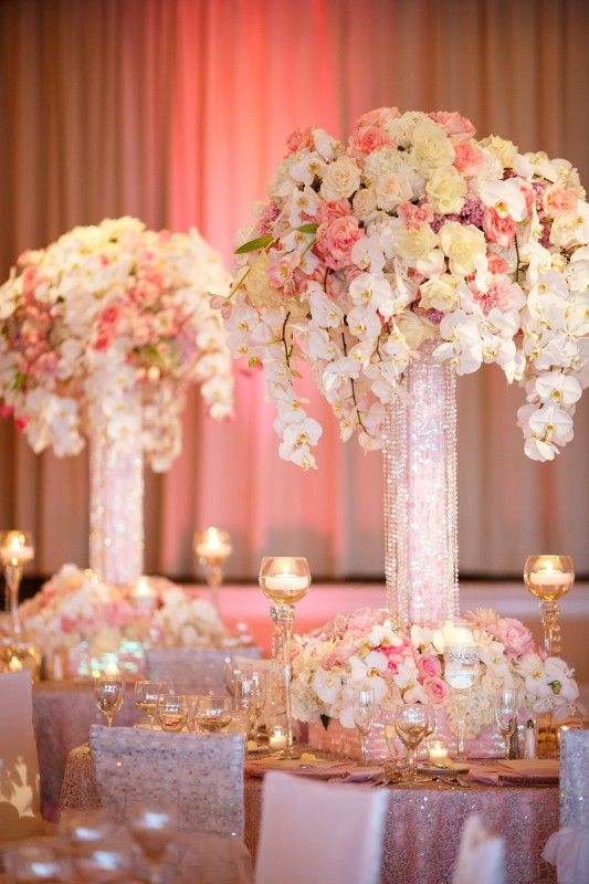 Soft colors and crystal vases