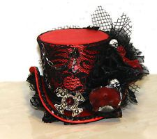 BLACK RED MINI TOP HAT STEAMPUNK GOTHIC BURLESQUE VINTAGE LACE SKULL CELTIC CHAR