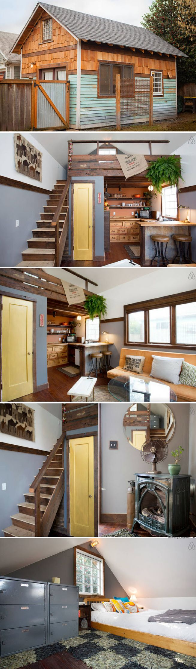 A rustic modern tiny house available for rent on Airbnb in Oregon