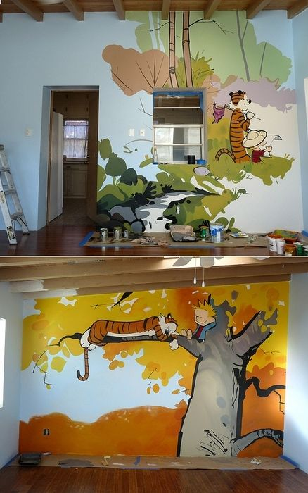 S. Rivas painted a bunch of Calvin & Hobbes murals in the playroom of the Reynolds Home — a shelter for women and children in crisis.