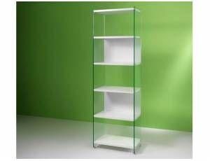 Byblos libreria in vetro - Libreria da 60 cm, con fianchi portanti in vetro temperato da 10 mm e ripiani in laminato da 25 mm  Dimensioni: cm. 60x36x205h  Colori disponibili: Bianco, Olmo tranché  Prodotto interamente realizzato in Italia