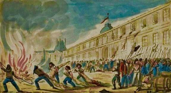 Après la prise des Tuileries, les corps des Suisses sont défenestrés, dénudés, mutilés, brûlés ... 10 aôut 1792. http://leblogdumesnil.unblog.fr/2012/08/10/2012-44-simples-reflexions-a-propos-du-10-aout/