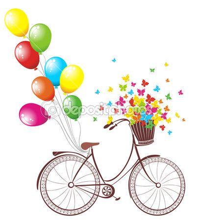 Романтический день рождения. велосипед с шарами и корзиной, полной цветов и бабочек — Векторное изображение © marina99 #39760369