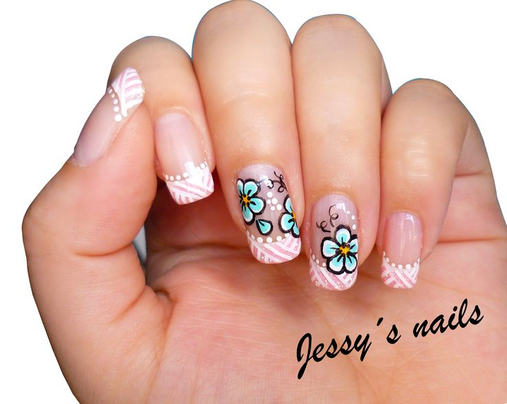 U as con flores nail art pinterest manicure and - Unas decoradas faciles ...