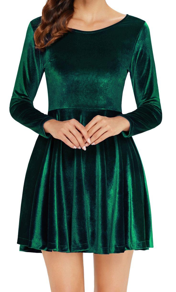 Annigo green velvet dress women long sleeve aline years