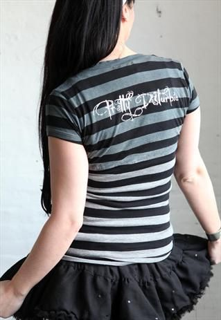Pretty Disturbia stripe tiedye punk grunge goth festival top from Pretty Disturbia £12