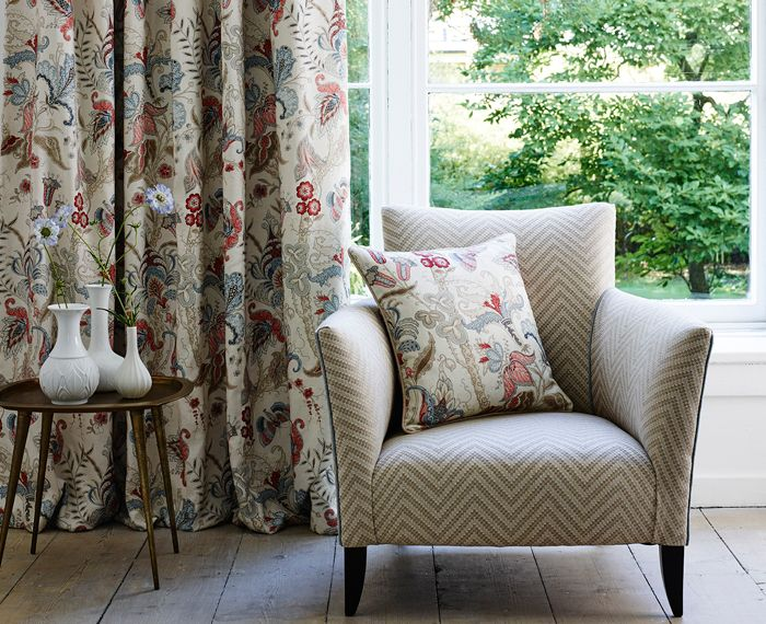Beautiful neutral based colourways from the Fable collection. Curtain & cushion - Uhura | Pink/Blue - LF1923C/1. Chair - Zeus | Biscuit | LF1928C/3. http://www.linwoodfabric.com/product-category/fabrics/fable/