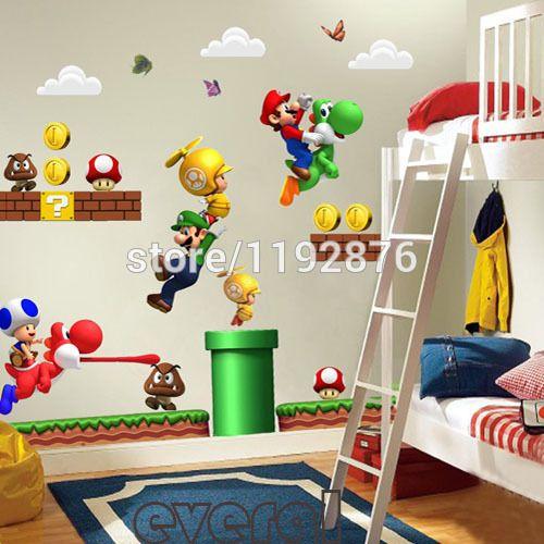 Super mario bros kids sticker mural amovible jeunesse, pépinière. maisondécor décalcomanies dans de sur Aliexpress.com