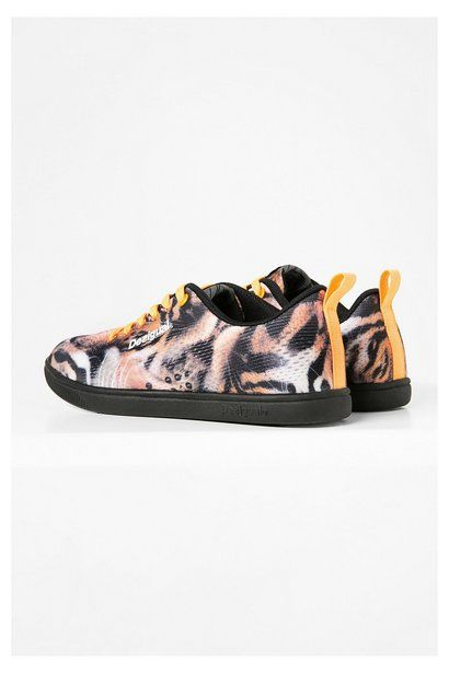 Black sneakers with an animal print | Desigual.com G