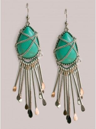 Be sure to wear your hair upswept when you don these earrings—everyone will want to get a look. The cool silver tones are ideal for setting off the turquoise howlite stone.