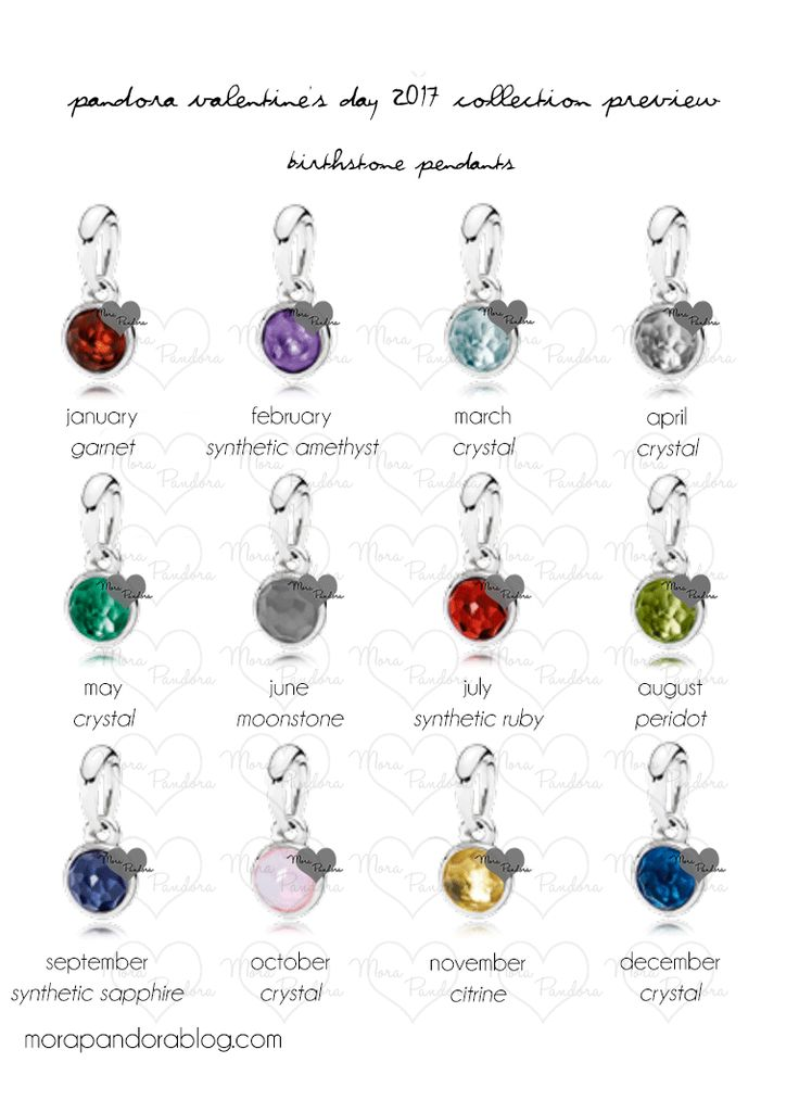 Pandora Valentine's 2017 Birthstone Pendants
