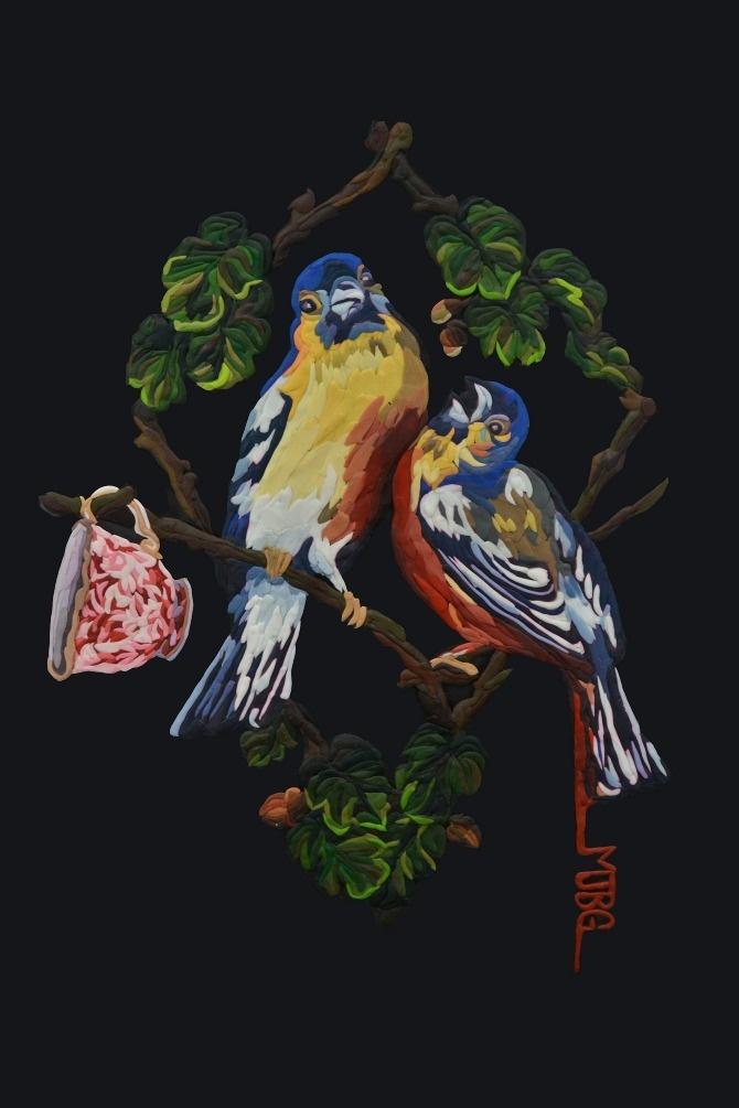 El pájaro que se queja. plasticina sobre acrílico (modeling clay on plexiglass) Jacinta Besa