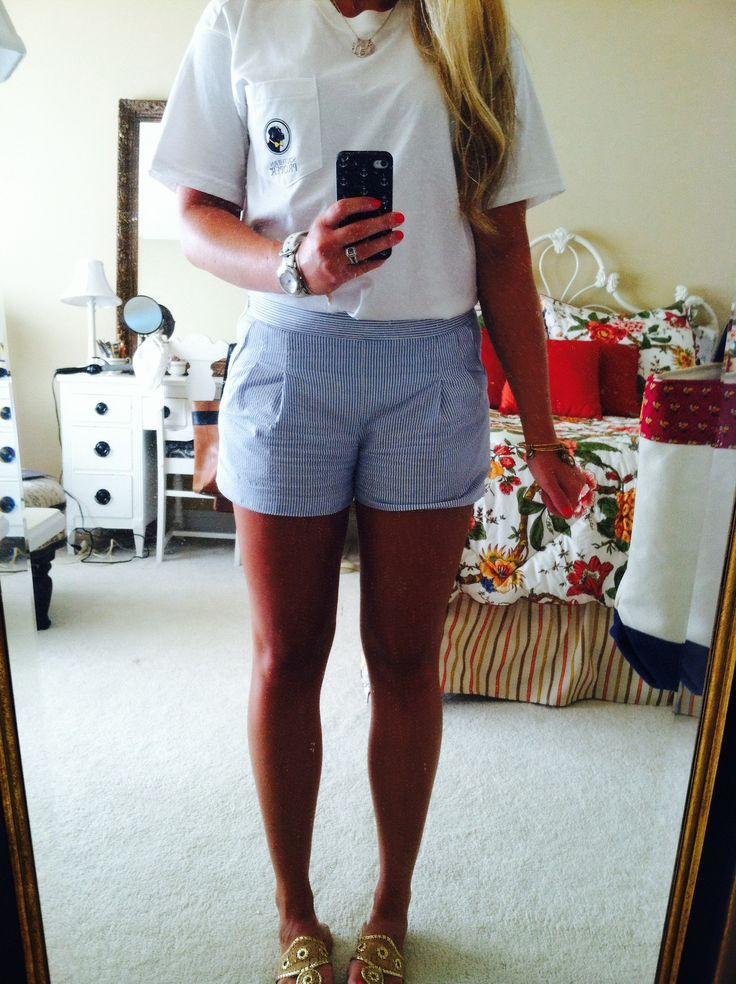 white southern proper shirt and j.crew seersucker shorts