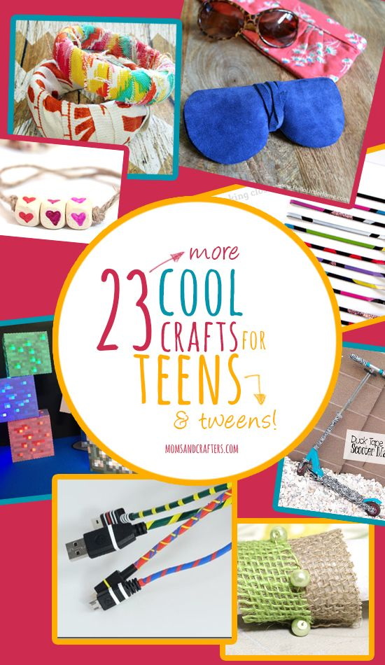 23 more cool crafts for teens - a list of crafts from various bloggers using various techniques geared toward teenage girls and boys! These include tech, themed crafts, jewelry and other wearables,  and more. Most of these are very functional, creating a positive experience for teens and tweens.