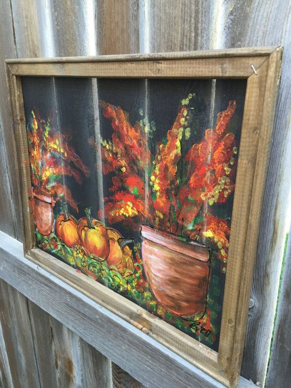 This is a hand made painting on screen with Wood Frame, Recycled  16X20 Inches this Screen and the wood frame are both recycle, hand painted and