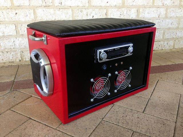Car Stereo Boombox - Sound system built from assorted car audio parts complete with padded seat.
