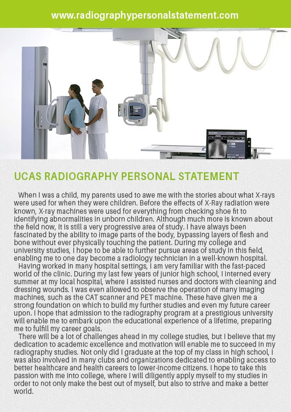 Most of the candidates choose a radiography program for their career. Most of the colleges and universities have taken the applications that come through the UCAS. It is not easy to get an acceptance to radiography program. Check out your UCAS Radiography Personal Statement from http://www.radiographypersonalstatement.com/diagnostic-and-theraupeutic-radiology-personal-statements/ucas-radiography-personal-statement-help/