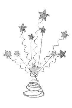 Centre de table étoiles argentées, 26 x H 30 cm