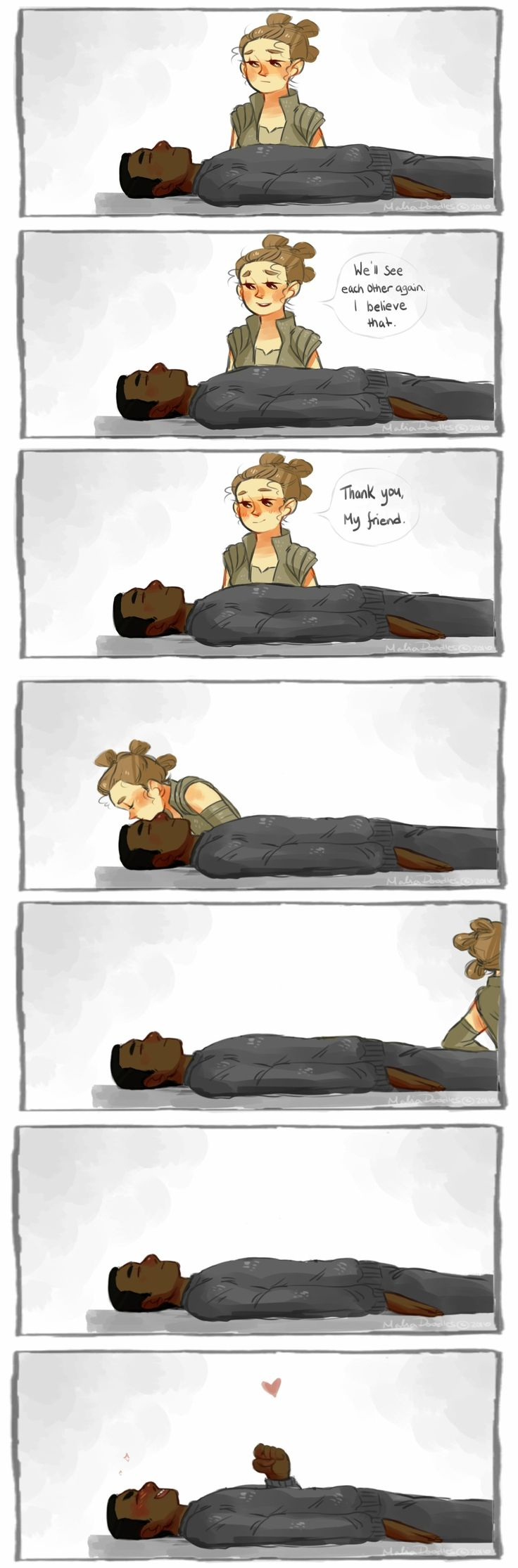 "Truth is Finn was never really ""asleep"", and enjoyed the kiss Rey gave him a little TOO much~~ xD"
