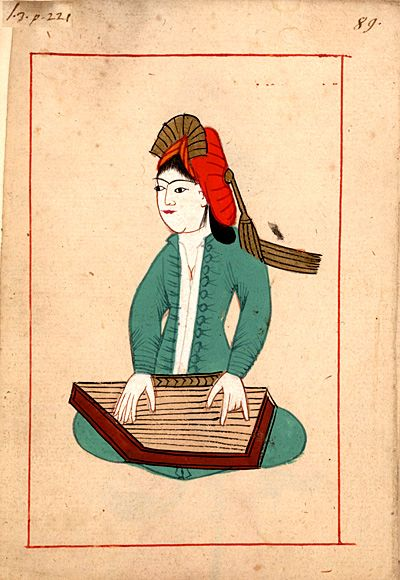 Zither-player  Kanûnî. The 'Rålamb Costume Book' is a small volume containing 121 miniatures in Indian ink with gouache and some gilding, displaying Turkish officials, occupations and folk types. They were acquired in Constantinople in 1657-58 by Claes Rålamb who led a Swedish embassy to the Sublime Porte, and arrived in the Swedish Royal Library / Manuscript Department in 1886.