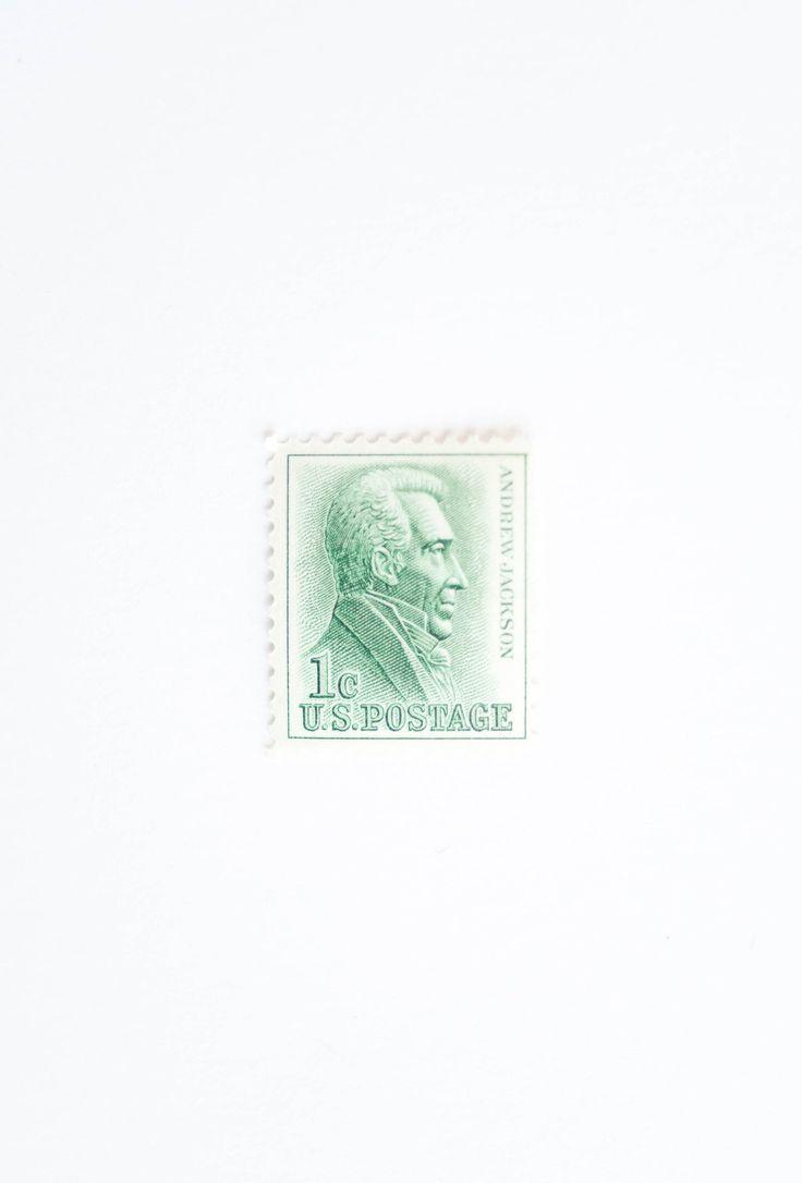10 Andrew Jackson Postage Stamps Unused 1 Cent Stamp Green Postage President Postage