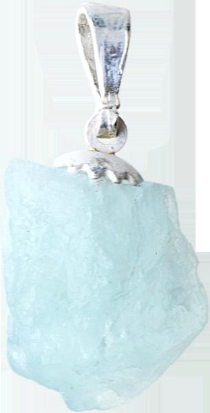 Doğal halinde akuamarin taşlı kolye ucu.