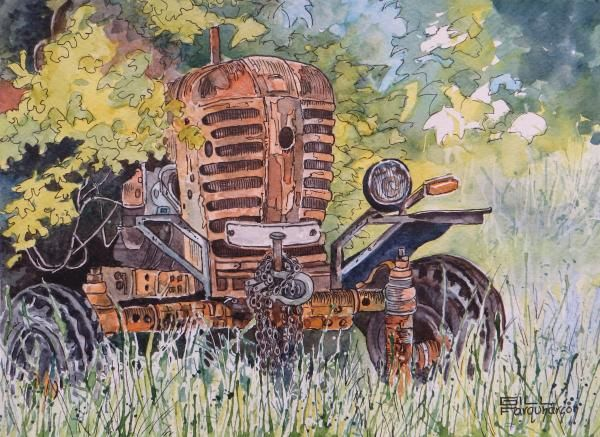 Gill Farquharson painted this lovely watercolour tractor