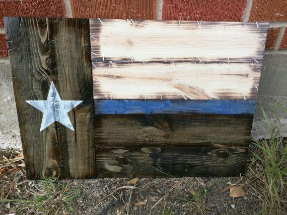Small Thin Blue Line Texas Flag by CowboyCapitalSigns on Etsy