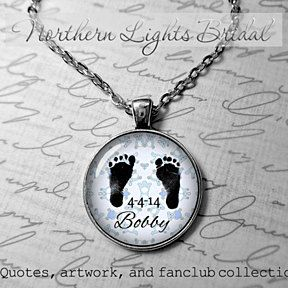 Baby feet photo gift for mom gift for dad baby feet personalized gift necklace baby birth date babys name blue teddy bears silver pendant by NorthernLightsBridal on Opensky