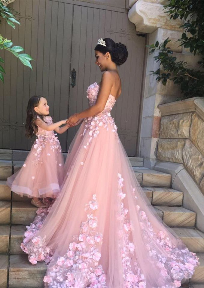 bd89a343f A-Line Round Neck Pink Tulle Flower Girl Dress with Appliques - #ALine #
