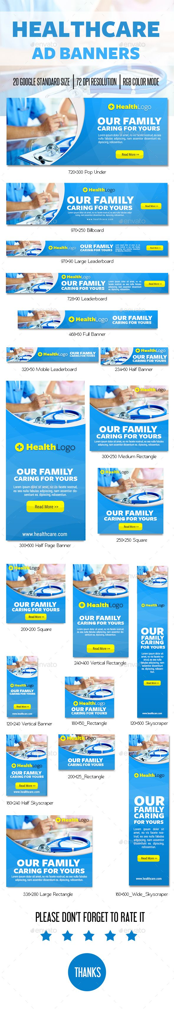 Healthcare Ad Banner — Photoshop PSD #corporate #health • Available here → https://graphicriver.net/item/healthcare-ad-banner/15402310?ref=pxcr