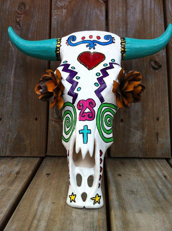 Dia De Los Muertos Ceramic Cow Skull