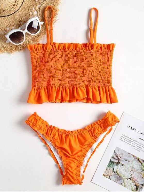 Frills Trim Smocked Bikini