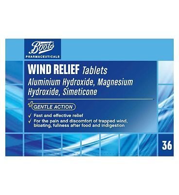 #Boots Pharmaceuticals Boots Wind Relief Tablets - 36 Tablets 10131202 #12 Advantage card points. For the pain and discomfort of trapped wind and indigestion.See details below, always read the labelSuitable for: Adults and children of 5 years and over.Active ingredients: Dried Aluminium Hydoxide Gel FREE Delivery on orders over 45 GBP. (Barcode EAN=5045097628701)