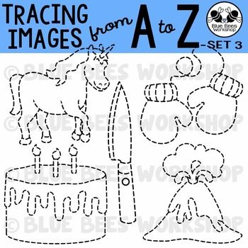 This clipart set contains 26 different traceable images, one for each letter of the alphabet: apron, bear, cake, duck, eagle, fire, glass, horn, iron, juice box, knife, lollipop, mittens, narwhal, overalls, puzzle, quail, ring, saw, trophy, unicorn, volcano, watch, x-ray fish, yam, and zebra.