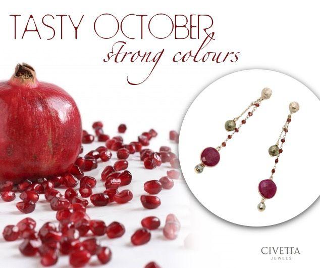 Leila #earrings: intense as a pomegranate. http://www.civettajewels.it/new-arrivals/orecchini-argento-estrosia-pirite-e-granato.html #perle di #granato per Estrosia! #orecchini #pietrepreziose
