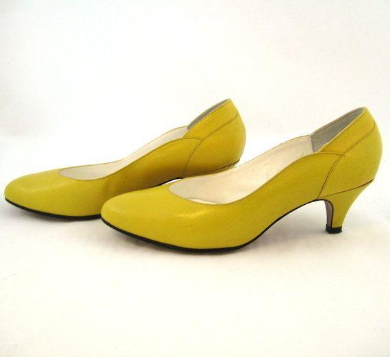 80s senape scarpe scarpe donna giallo senape di Bethlesvintage