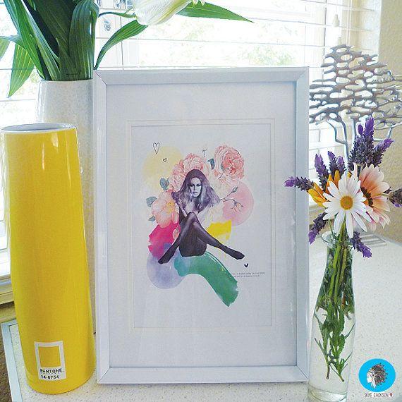 brigitte bardot quote love rainbow flower watercolour by SkyeJack, $20.00